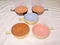 A Lot of 5 Vintage Retro 60's Studio Pottery Reverse Harlequin Ramekins