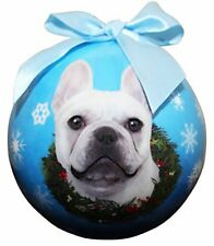 """French Bulldog White Christmas Ornament"" Shatter Proof Ball Easy To Personalize"
