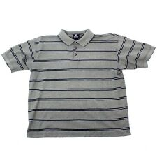 Pebble Beach Striped Polo L Mens Short Sleeve Golf Tshirt Gray Blue Stripe Tee