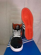 ADIDAS TOP TEN HI BLACK/ORANGE PATENT LEATHER SHOES. SZ. 10.5