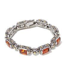 "Emma Skye Jewelry 2-tone Citrine Color Faceted Crystal 7-1/4"" Line Bracelet HSN"