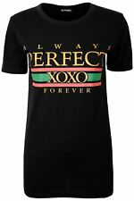 Ladies Womens Designer Celeb Slogan Always Perfect XOXO T Shirt Short Sleeve Top