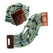 Turquoise Blue Bali Bracelet Hardwood Buckle Clasp Elastic Glass Beads