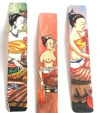 5xHOT WOOD BOOKMARKS PAINTING PAINTED BOOK SOUVENIR GIFT COLLECTIBLE VINTAGE ART