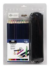Pieza 15 Color Dibujo Lápices & Funda De Nylon Arte conjunto Goma Sacapuntas rart-2203
