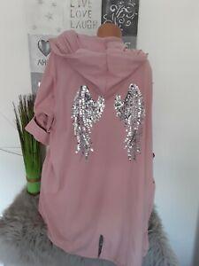 Italy  Damen Long Jacke Hoodie  46 48 50 NEU Taschen rosa  Flügel Pailletten