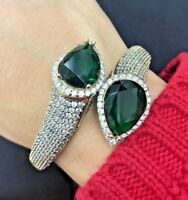 Turkish Handmade Emerald Sterling Silver 925 Bracelet Bangle Cuff