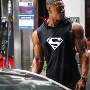 Men Gym Hooded Tank Top Vest Sweatshirt Gym Muscle Sleeveless Casual T-shirt