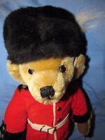 "VINTAGE TEDDY BEAR MERRYTHOUGHT ENGLAND GUARDSMAN MOHAIR 18"" NICE GIFT W TAGS"