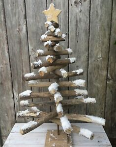 Driftwood Style Christmas Tree, Pine Wood With Snow & Glitter Finish - 40 x 62cm