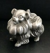 Solid Pewter Silver Pomeranian Dog Puppy Highly Detailed Figurine Statue