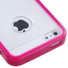 iPhone SE 5S Pink Clear TPU Gel Gummy Hard Silicone Rubber Slim Fit Skin Case