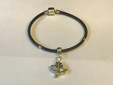 Sm Maple Leaf TG241 Made From English Pewter on a Faux Leather Snake Bracelet
