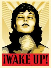 Shepard Fairey WAKE UP! Cream Gold print Obey Giant girl portrait peace woman