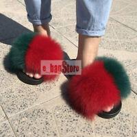 2019 Summer Women Fluffy Real Fox/Raccoon Fur Slides Slippers Indoor Flat Shoes