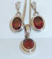 Vintage Pendant, Chain, and Earrings set w/Garnet Cubic Zirconia Konder #224