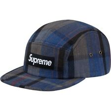 SUPREME Plaid Linen Camp Cap Black Box Logo camp floral safari pcl S/S 14