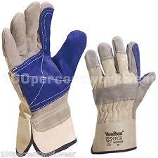 1x Delta Plus DS202RP Cow Hide Leather Cotton Canvas Work Gloves Builders Rigger