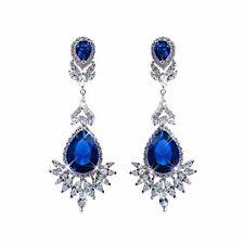 Klassische große Ohrringe, XXL, Luxury Brand,Transparent Strass, Blau/Silber,NEU
