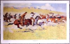 "The Fight For The Stolen Herd by Frederic Remington  37"" X 23"" Western Art Print"
