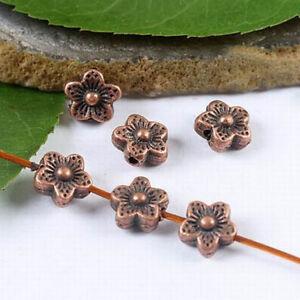 34pcs copper tone plum flower spacer beads H1937