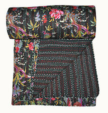 Indian Kantha Quilt Floral Reversible King Bedding Bedspread Ethnic Bed Cover
