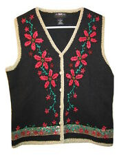 SEGUE vtg Black Beaded Embroidered Sweater Vest Gold Trim Womens size S Small