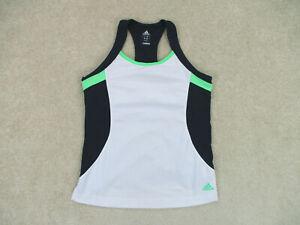 Adidas Shirt Womens Large White Blue Tank Top Sleeveless Gym Tennis Ladies