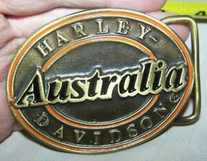 RARE HARLEY DAVIDSON OF AUSTRALIA BRASS BELT BUCKLE MADE NEW ZEALAND VERY SHARP
