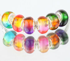 mix 10p SILVER MURANO LAMPWORK Beads Fit European Charm Bracelet Jewelry #AA537