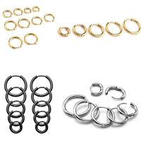 Silver Men Women Steel Tube Ear Helix Huggie Hoop Sleeper Earrings Stud Jewelry
