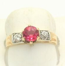 Art Deco Ruby & Old European Cut Diamond Ring 14k Gold