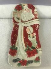 Fitz and floyd christmas dish Poinsettia Santa Oblong 1 foot Ch4360