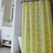 "Theshold Shower Curtain Floral Golden Yellow Texture Cloth 72 x 72"" Cotton NEW"