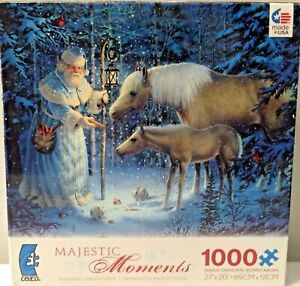 Ceaco Majestic Moments Sharing W/ Santa Horses Woods Forest 1000 Pcs Puzzle