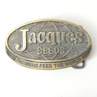 VTG 1977 Jacques Seeds Brass Belt Buckle Limited Edition Farmers Feed The World