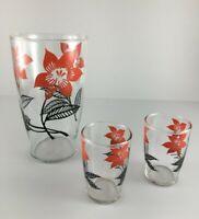 Vintage 32 oz juice carafe pitcher 2 four oz juice glasses orange flower