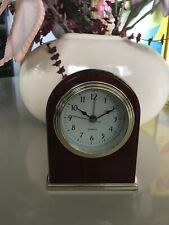 Mantle / Desk Quartz Clock Contemporary High Gloss Mahogany w/ Gold Trim