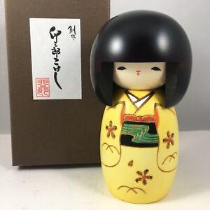 "Usaburo Japanese Kokeshi Wooden Doll 5"" Girl Yellow Kimono Osanago Made in Japan"