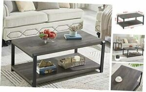 Coffee Table with Storage Shelf,Rustic Wood and Metal Cocktail Table for