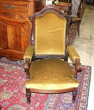 French Carved Antique Upholstered Victorian Arm Chair Circa 1880