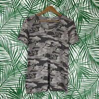 Monrow Gray Camoflauge Round Neck T-Shirt Women's Size Medium