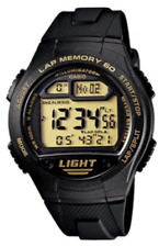 Casio  W-734-9A   Digital   100M   Sport   Watch  60  Lap  Memory  Black  W734