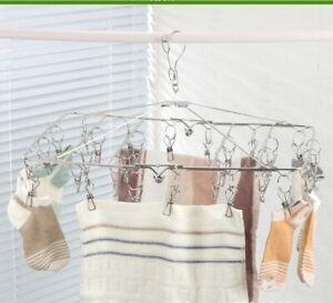 30 Pegs 4mm Stainless Steel Foldable Hanger Sock Underwear Drying Rack Windproof