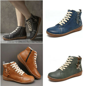 Womens Ankle Boots Ladies Fur Lined Lace up Warm Zip Snow Flat Booties Shoes