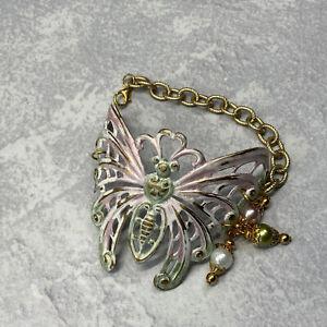 Handmade pastel brass butterfly bracelet with faux pearls
