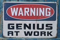 WARNING Sign GENIUS AT WORK Metal Tin Signs Office Home Decor