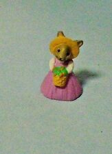 1990 Hallmark Merry Miniatures Easter/Spring Bunny In Pink Dress With Basket