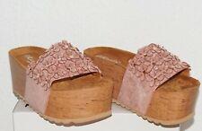 Hippie Boho Strass Plateau Sandale Clogs Holzoptik Slipper 3D Blüten Nude Rosa