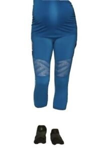Isabel Maternity Size L Active Geo Mesh Leggings Sapphire Burst Supportive Comfy